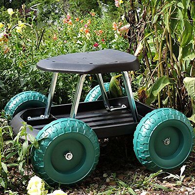 Garden Carts Work Seat Stool Scooter Rolling Wheel With Tool Tray Gardening Work
