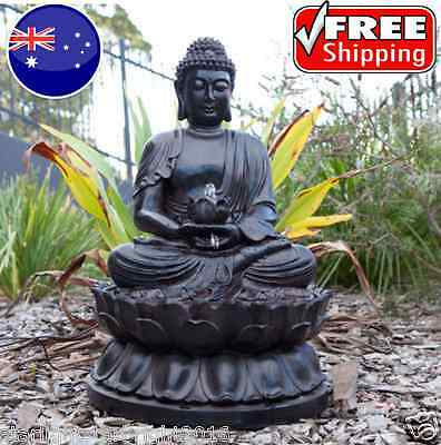 Outdoor Fountain Buddha Statue Water Feature with Light Garden Display Decor