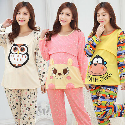 Maternity Sleepwear Suit Pregnant Pajamas Nursing Tops+Pants Cotton Nightgown
