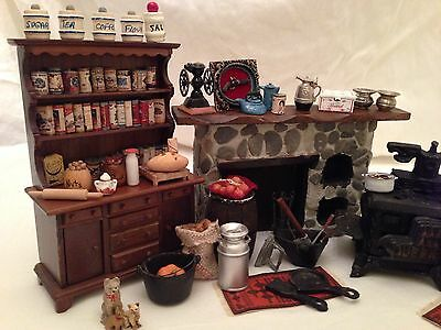 Vintage Dollhouse Miniature Kitchen + Extras! Messer & Others -  98 Pieces!!!