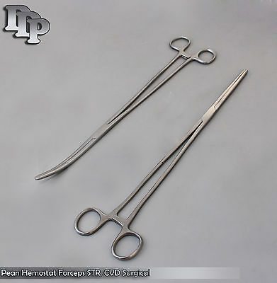 "New 2pc Set 16"" Straight + Curved Hemostat Forceps Locking Clamps Stainless"