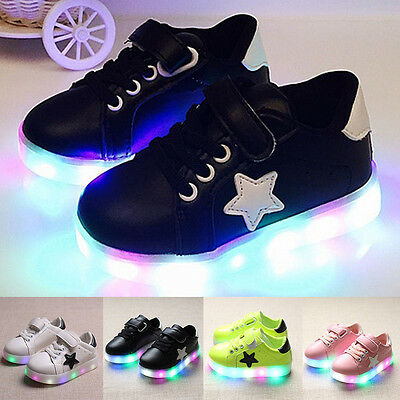 Kids Boys Girls LED Light Charge Flashing Trainers Sneakers Luminous Shoes