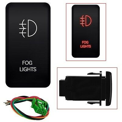 12V Push Switch Red LED Fog Light For Toyota 4Runner Tocoma 120 Series 40mm*20mm