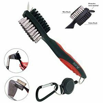 Dual Side Nylon & Steel Golf Clubs Shoes Groove Brush with Spike Cleaner