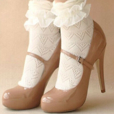 Fashion Lady Girls Sweet Retro Lace Ruffle Frilly Trim Ankle Short Socks New