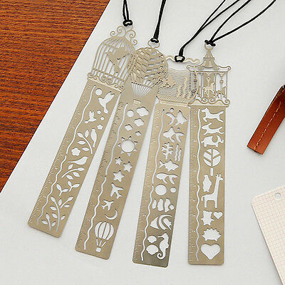 Hot Sell 4 Pcs Novelty Ultra-thin Hollow Metal Fairy Tale World Ruler Bookmark