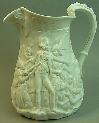 Antique Samuel Alcock Parian Ware Jug 'battle Of Acre' C.1799