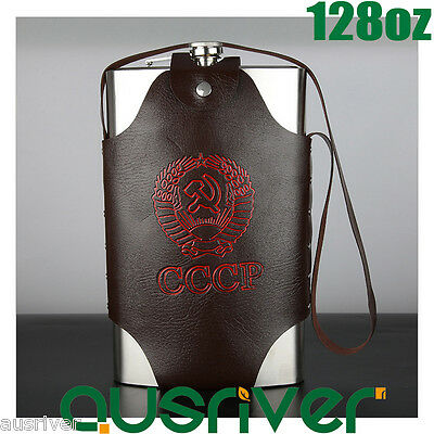 128oz Stainless Steel Hip Flask Liquor Whiskey Alcohol Bottle+Leather Cover Gift