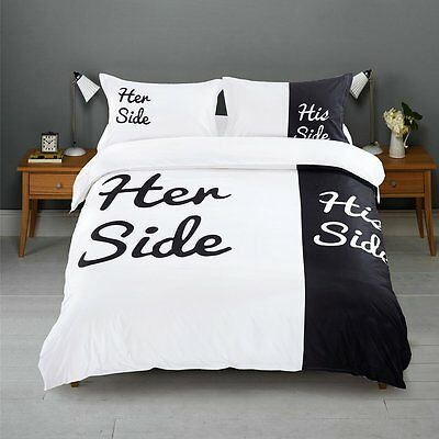 His and Her Side Lovers Queen King Bedding Set Pillowcase Duvet Cover Bed Sheet