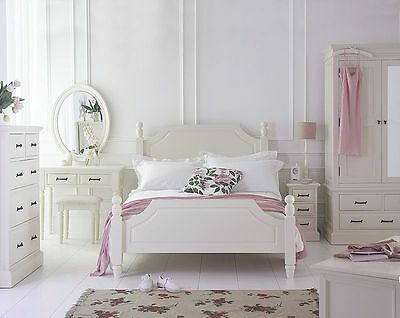 Bedroom Furniture Set French Louis Ivory Painted King Size Bed, Chest, Bedsides