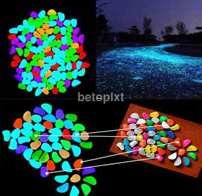10PCS Colorful Glow in The Dark Stones Pebbles Rock For Fish Tank Aquarium
