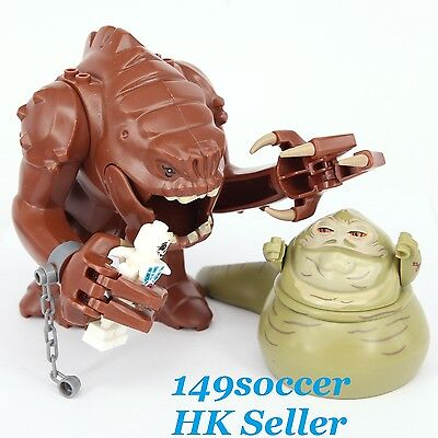 2pcs Star Wars Jabble The Hutt Rancor & Jabba the Hutt Custom Lego Building Toy