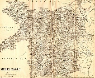 Antique Folding Map, British Isles, Wales, North Wales 1860