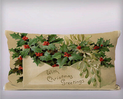 Christmas Holly Envelope Long Cushion Covers Pillow Cases Home Decor or Inner