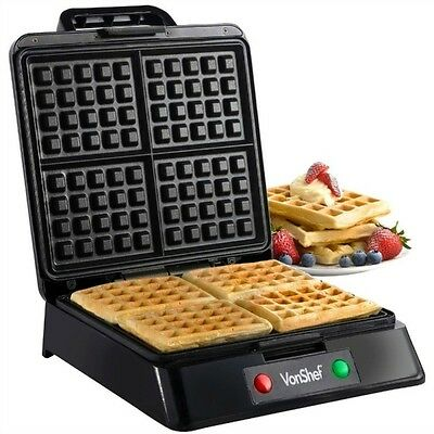 Belgian Waffle Maker Iron Non Stick 4 Mould Stainless Steel 1200W VonShef Quad