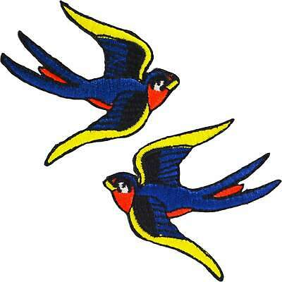 Swallows Iron On Patches Tattoo Retro Rockabilly Pin Up Embroidered Vintage