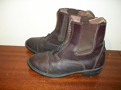 Kids Youth zip up paddock boots brown sz 3 synthetic