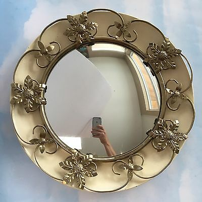 "17"" Domed Convex Midcentury Wall Hanging Mirror Wrought Iron Vintage England"