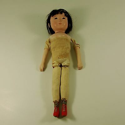 "Japanese Gofun Doll 16"" needs TLC very unusual boots no Clothing"