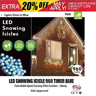 New 960 LED Blue Christmas Lights Snowing Icicle Xmas Light Display w/ Timer