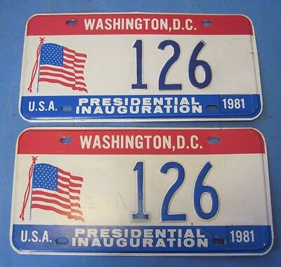 1981 DC License Inaugural plates matched pair very good condition low number 126