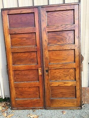 Cm 85 One Pair Antique Oak Flat Panel Pocket Doors