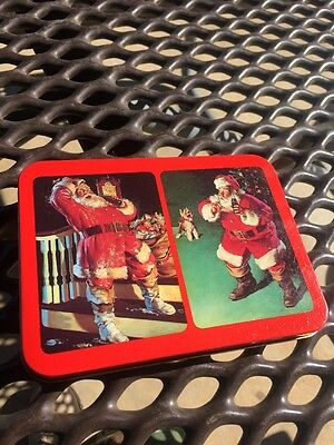 VINTAGE New Old Stock TIN TWO DECKS OF COCA COLA PLAYING CARDS 1993 SANTA TOYS