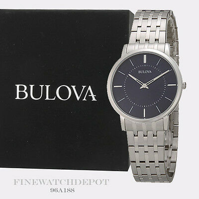 Authentic Bulova Men's CLASSIC collection Analog S.S. Ultra-Slim Watch 96A188