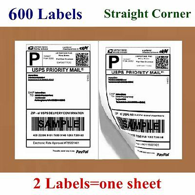 600 Half Sheet 8.5 x 5.5 Premium Shipping Labels Self Adhesive - Paypal UPS 5126