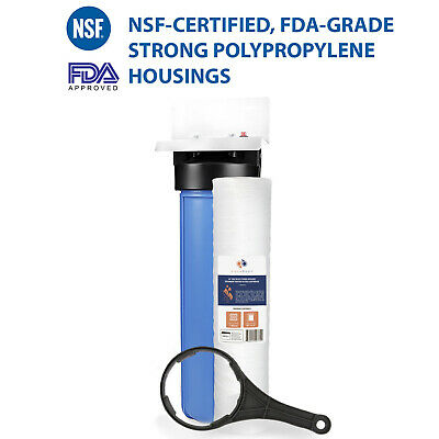 """Big Blue 20"""" Whole House Water Filter System 1""""+ Bracket+ String Wound Sediment"""