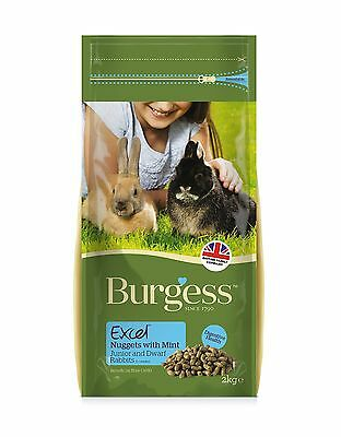 Burgess Excel Junior and Dwarf Nuggets with Mint Rabbit Food 2kg 2 Kg