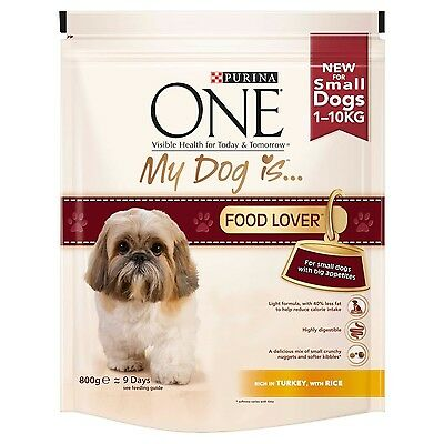 Purina One My Dog is Food Lover Dry Dog Food Turkey and Rice 800 g - Pack of 4