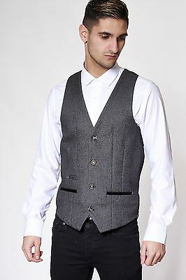 Mens Marc Darcy Designer Grey Tweed Style Waistcoat Formal Vest Size 34-52 Avl