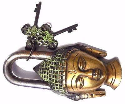 Buddha Design Handmade Antique Brass Padlock With Unique Key/Working Condition