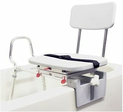 Snap-N-Save Sliding Shower Chair Tub-Mount Bath Transfer Bench with Swivel Seat
