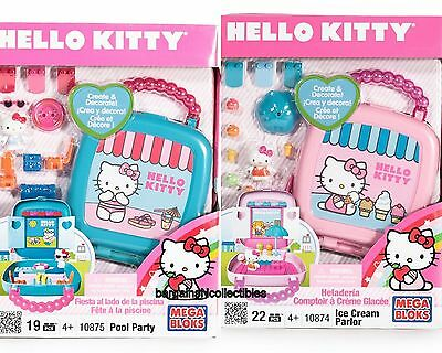 NEW MEGA BLOKS Hello Kitty 10875 Pool Party 10874 Ice Cream Parlor 2 Play Sets