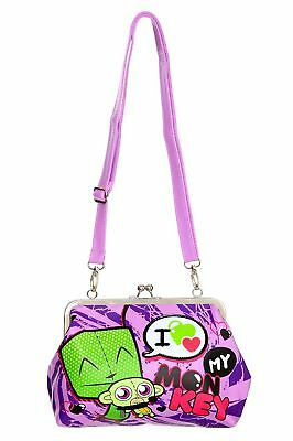 Nwt Alien Invader Zim Dog Suit Gir Loves Heart Crazzy Monkey Kisslock Purse Bag