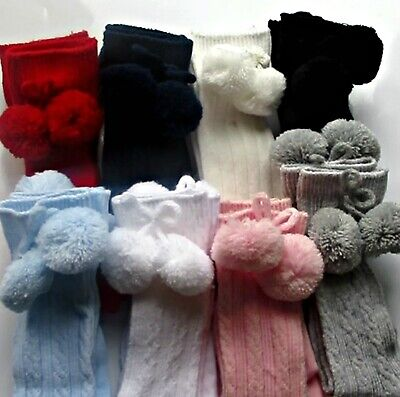 """Baby POM POM socks"" Knee High ribbed cable Spanish 0-3, 3-6, 6-12 months"