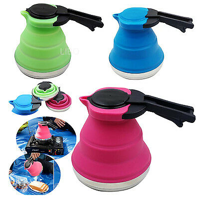 1500ML Portable Silicone Folding Kettle Kitchen Outdoor Camping Hiking Kit Stove