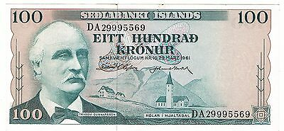 Iceland 1961 Sedlabanki Islands 100 Kronur Uncirculated Bank Note P-44a!!