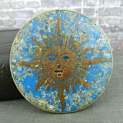 Signed Taxco Mexico Crushed Stone Sun Face Pin / Brooch