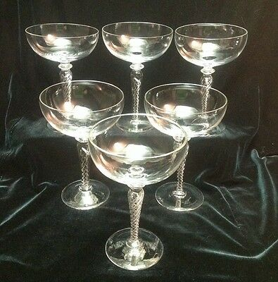 Set of 6 European Handblown Air Twist Coup / Saucer Champagnes ~ Wedding Party!