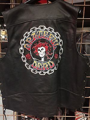 GRATEFUL DEAD LEATHER VEST Motorcycle Vest Bertha Collectible Memorabilia