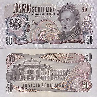 Austria 50 Schilling Banknote,2.1.1970 Choice Extra Fine Condition Cat#143-A