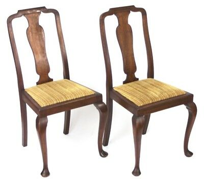 A pair of Antique Queen Anne Mahogany Dining Chairs - FREE Shipping [PL1806]