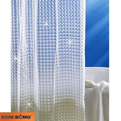 Bene Domo 3D Shower Curtain Clear Cubes Water Transparent Plastic EVA Thicker