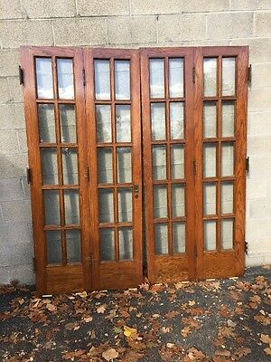 Cm 89 One Pair Antique Oak Flat Glass Bifold Doors