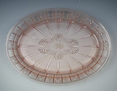"Jeannette Glass DORIC-PINK 12"" Oval Serving Platter EXCELLENT"