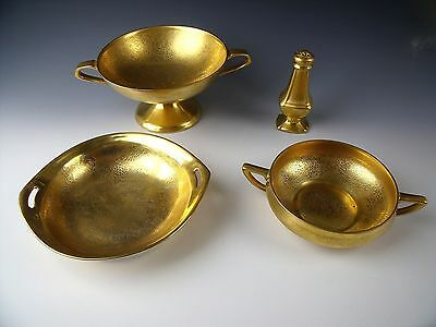 Lot of 4 Pickard Gold Crusted China Dinnerware EXCELLENT
