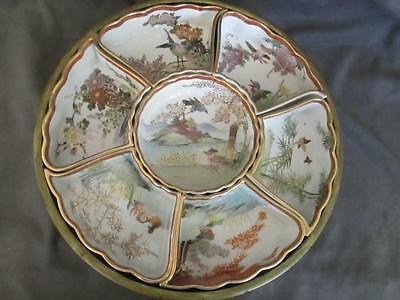 JAPANESE Hand Painted KUTANI Birds  Lazy Susan 7 Piece TRAY w/Spinning Stand  dl